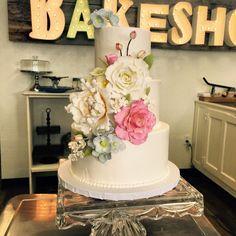 Floral Wedding Cake by a Bakeshop!  Website: abakeshop.com Address: 6007 N 16th St, Phoenix, AZ 85016 Email: info@abakeshop.com
