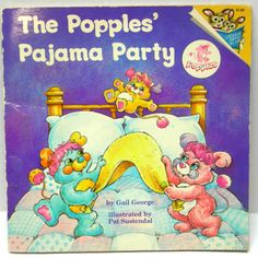 VTG 80s Popples Pajama Party kids BOOK Pat Sustendal toy picture Pictureback
