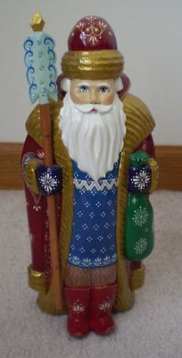 Russian Hand Carved Hand Painted Santa Claus Father Frost | eBay