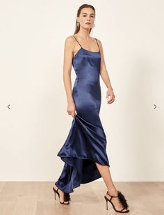 Dresses for Fall weddings or also just Fall. This is a slim fitting, slip dress with a slight scoop neckline, an open upper back and spaghetti straps. he Athena is relaxed fitting throughout. Fall Wedding, Neckline, Satin, Formal Dresses, Clothes, Tops, Style, Navy, Fashion