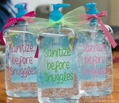 cricut projects with vinyl for babies | Sanitize before Snuggles | Pink Cricut