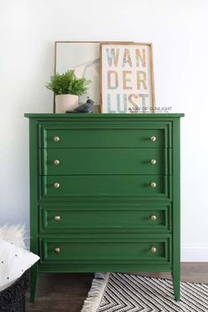 This green painted dresser is soooo much fun! A little bit of paint goes a long way in updating and transforming any piece of furniture, and this modern dresser is no exception! Here is how to easily DIY paint your furniture in a green modern finish. Green Painted Furniture, Painted Bedroom Furniture, Bedroom Dressers, Repurposed Furniture, Diy Bedroom, Wooden Bedroom, Refurbished Furniture, Colorful Furniture, Nightstands