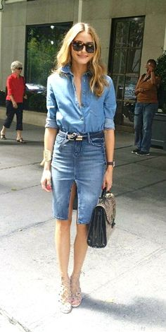 Fashion week is all about having fun with your clothes! Here I am on my way to Rebecca Minkoff's Spring 2015 runway show in a Topshop chambray top tucked into a denim black orchid skirt with Aquazzura x Olivia Palermo heels a Rebecca Minkoff bag and Bobby Roache sunglasses.