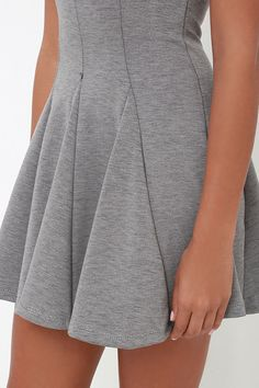 Lulus Exclusive! We take our dresses like we take our coffee, a little sweet with a lot of sass; so naturally, we're in love with the Sugar and Sass Heather Grey Dress! Stretchy, medium weight knit in a heather grey hue shapes a rounded neckline atop a sleeveless bodice with body-hugging fit. Princess seams transition into a drop-waist skirt with godets for extra fullness. Hidden back zipper. Fully lined in stretch knit. Self: 54% Polyester, 23.5% Rayon, 12.5% Nylon, 10% Spandex. Lining: ...