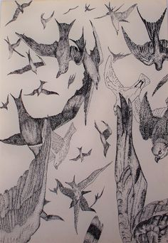 """Saatchi Online Artist: john darley; Pen and Ink 2010 Drawing """"The Day it Rained Birds"""""""
