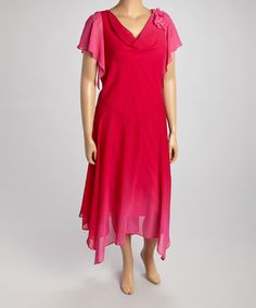 Another great find on #zulily! Pink Flower Angel-Sleeve Dress - Plus by Robbie Bee #zulilyfinds