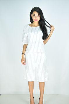 #twopiecestripedress#pininterstdress#monochromedress#whitedress#blackandwhite