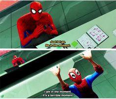 Marvel: Spiderman into the spider-verse Marvel Dc Comics, Marvel Avengers, Marvel Funny, Marvel Memes, Spider Verse, Tom Holland, Naruto E Boruto, The Villain, Figure Drawings