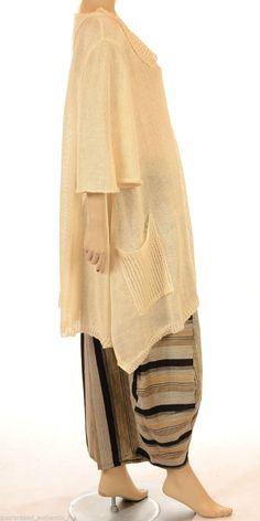 Lagenl K Sale Scrumptious Vanilla 100 Linen Asymmetric Knit | eBay