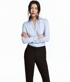 h&m woman blue fitted shirt | Fitted Shirt | Light blue | Women | H&M US