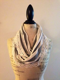 Grey and White Striped Infinity Scarf with White Lace Trim on Etsy, $12.50
