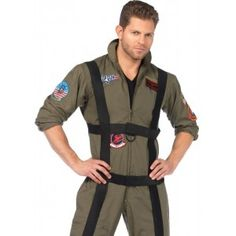 Top Gun Paratrooper Mens Costume Our Price $96.00  Top Gun Mens Paratrooper Suit includes zipper front flight suit with interchangeable Maverick and Goose name badges and authentic full color patches. It comes with the adjustable black strap body harness.  While it is made in men's sizes of course women could wear it too.  Officially licensed costume.  #cosplay #costumes #halloween
