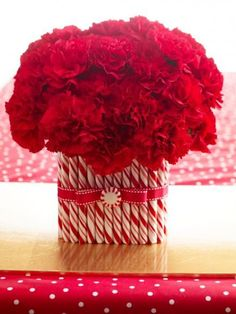Top your Christmas table with a quick, easy and festive holiday centerpiece. Carnations top a rectangular glass vase covered with candy canes. Attach candy canes to the vase with a hot-glue gun; anchor flowers in floral foam. If you like, spray canes with coats of clear acrylic spray to avoid stickiness. Finish with ribbon and mint.