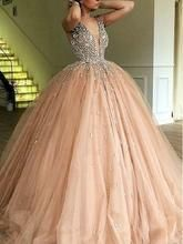 Luxury Ball Gown Champagne Tulle Dazzling Top Plunge V neck Prom Dress GDC1188 Ball Gowns Evening, Ball Gowns Prom, Ball Gown Dresses, Formal Evening Dresses, Colored Wedding Dresses, Wedding Party Dresses, V Neck Prom Dresses, Dress Prom, Short Dresses