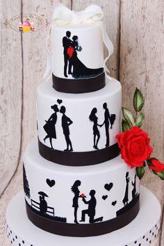 Torturi de vis: Tort de nunta cu siluete
