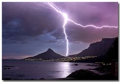 'Powerful Nature' - Lightning bolt taken from Camps Bay with Table Mountain on the right - South Africa All Nature, Science And Nature, Amazing Nature, Beautiful Sky, Beautiful World, Thunder And Lightning, Lightning Bolt, Lightning Storms, Thunder Thunder