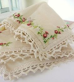 Crochet Edging And Borders Lovely embellishment and crochet lace edge - reminds me of times spent with Grandma learning to crochet edges on napkins, hankies, pillow slips - well you have the idea! Crochet Edging Patterns, Crochet Borders, Crochet Lace, Crochet Edgings, Ribbon Embroidery, Cross Stitch Embroidery, Embroidery Patterns, Linens And Lace, Needlework