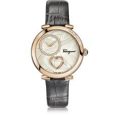 Salvatore Ferragamo Cuore Ferragamo Rose Gold IP Diamonds Women's Watch w/Grey Croco Embossed Strap at FORZIERI