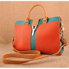 Haruka - Womens fashion #orange #shoulderbags with snakeskin pattern