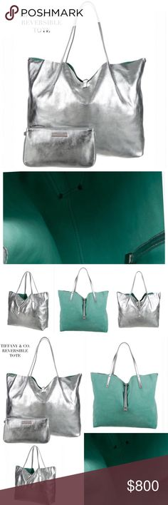 "TIFFANY & CO. REVERSIBLE TIFFANY BLUE TOTE BAG Tiffany & Co. Reversible Tote Bag! A classic classic tote bag that features brass hardware, dual flat shoulder straps, silver-tone metallic leather interior, accompanying zip pouch inside & pull-through signature closure in front. Material: Metallic Silver-tone Leather, Tiffany Blue Suede. Minimal wear due to nature of leather. Approx Measurements: Shoulder Strap Drop 8"", H: 13.5"", W: 15.5"", D: 6"". Condition: Excellent! Never used. Includes box…"