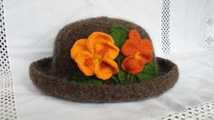 Wool & Mohair Hand Knit Brown Heather Felted  Hat with Orange Pansies