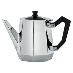 Manufacturer: Alessi Designer: Carlo Alessi 2010 Ottagonale Tea Pot in stainless steel. Handles and knob in bakelite. Re-edition of the Alessi tea and coffee sets project as well as of bar and kitchen obj Serveware, Tableware, Coffee Accessories, Cafetiere, Alessi, Tea Service, Espresso, Kitchen Dining, Dining Room