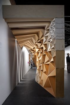 Commercial design, commercial interiors, architecture details, triangular a Parametrisches Design, Wall Design, House Design, Architecture Details, Interior Architecture, Interior And Exterior, Commercial Design, Commercial Interiors, Timber Cladding