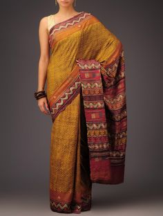 Buy Mustard Yellow Orange Red Tussar Silk Kantha Embroidered Saree Sarees Art Reveal Tales Online at Jaypore.com