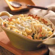 Shrimp & Macaroni Casserole Recipe -Mac and cheese goes upscale in this deliciously cheesy variation. The shrimp gives a unique twist to this popular standard. —Michael Cohen, Los Angeles, California