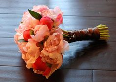 Blue and Peach Wedding Colors | These peach colored peonies are beautiful. Imagine this color in a ... bridesmaide flowers