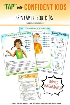 """5 Easy Ways to """"Tap"""" into Confident Kids Using EFT Tap Confident Kids EFT printable – Big Life Journal Tapping For Anxiety, Eft Tapping, Test Anxiety, Trauma Therapy, Mindfulness For Kids, Life Journal, Anxiety Treatment, Anxiety In Children, Yoga For Kids"""