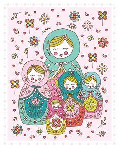 Matryoshkas 8 x 10 digital print of original illustration from jenskelley etsy shop