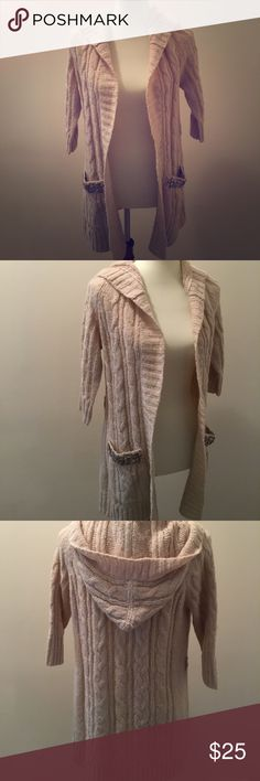 Cream sweater cardigan with embellished pockets Cream sweater cardigan with hood and embellished pockets NWT Sweaters Cardigans