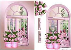 Window Roses on Craftsuprint designed by Marijke Kok - Window with a lovely garden,gorgeous roses ,for a very elegant card... on a satin background. - Now available for download!