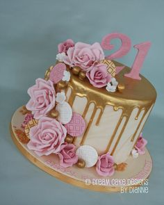 Birthday Drip Cake, 14th Birthday Cakes, Elegant Birthday Cakes, Beautiful Birthday Cakes, Birthday Cakes For Women, Birthday Cake Decorating, 70th Birthday, Birthday Cake Roses, Birthday Cake 21 Girl