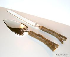 Rustic Wedding Cutlery with Cake Server and by TheBentTreeGallery, $55.00