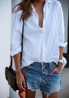 Love this look. Steal the shirt from your man's closet ;)