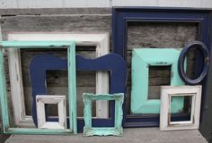 Set of 14 Upcycled Frames in Navy Blue Mint - hallway to bonus room
