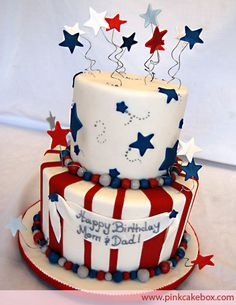 Red White & Blue July 4th Cake