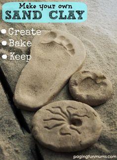 Clay Recipe - Create, Bake & Keep! Make your own Sand Clay - Create, Bake & Keep! Cornflour is cornmeal Bicarbonate soda is baking sodaMake your own Sand Clay - Create, Bake & Keep! Cornflour is cornmeal Bicarbonate soda is baking soda Vbs Crafts, Crafts To Do, Clay Crafts, Rock Crafts, Vinyl Crafts, Projects For Kids, Craft Projects, Craft Ideas, Diy Ideas