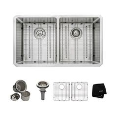Kraus KHU102-33 Undermount Bowl Double Basin Kitchen Sink, Stainless Steel | Lowe's Canada