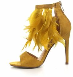 e4ccbdebbd9b Mustard yellow feathers!!  heels  shoes  shopstyle  ssCollective  afflink  Yellow