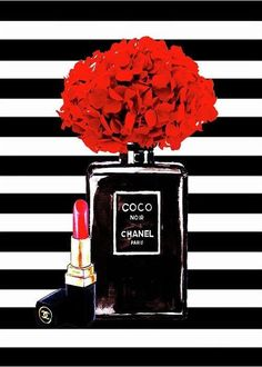 Chanel Poster Chanel Print Chanel Perfume Print Chanel With Red Hydragenia 3 Greeting Card for Sale by Del Art - Chanel Print Greeting Card featuring the painting Chanel Poster Chanel Print Chanel Perfume Print C - Art Chanel, Chanel Wall Art, Chanel Print, Coco Chanel Wallpaper, Chanel Wallpapers, Chanel Decoration, Mode Logos, Art Mural Fashion, Chanel Poster