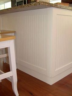 wrapping kitchen island in beadboard | Found on pinetreehome.blogspot.com