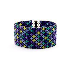 Psychedelic Purple Checkers Bead Loom Bracelet  Custom by FulKroma
