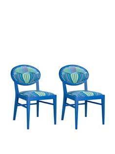 -47,400% OFF Set of 2 Armless Dining Chairs, Blue