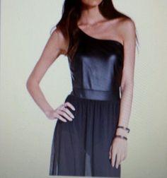 Clubwear S or XS Material Girl BLACK DRESS LEATHER LOOK TOP SHEER MAXI SKIRT $68 #MaterialGirl #Maxi #Clubwear