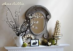 wreath and topiary tutorial, cute easter mantle