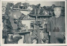 FMP.85.13.1    no date    Chinese Shoemaker standing in his shop in Macleod, AB.