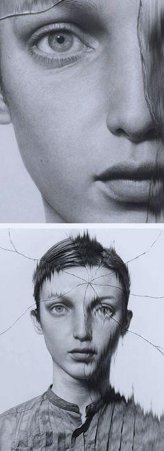 """The Cracked Portrait 1"" - Taisuke Mohri, pencil on paper, 2012 {figurative realism art beautiful female head #hyperreal glass woman face drawing #loveart #2good2btrue} taisukemohri.com"